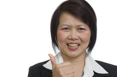 Business woman with thumbs up hand sign Stock Image