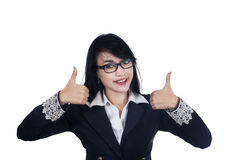 Business woman with thumbs up Royalty Free Stock Photo