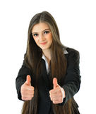 Business Woman Thumbs Up. Business woman holding two thumbs up Royalty Free Stock Photos