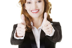 Business woman with thumbs up, ok gesture Royalty Free Stock Photography
