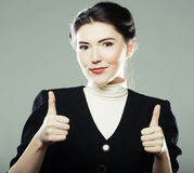 Business woman with thumbs up Stock Image