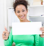 Business woman thumbs up with signboard Royalty Free Stock Photo