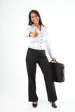 Business woman thumbs up for success and fun Stock Photo