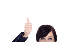 Business woman with thumps up Royalty Free Stock Image