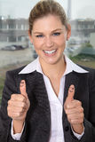 Business woman thumps up Royalty Free Stock Image