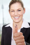 Business woman thumps up Stock Photos