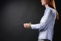 Business Woman with Tied Up Hands Royalty Free Stock Photography