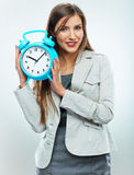 Business woman time concept portrait. White background Royalty Free Stock Photo