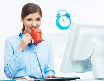 Business woman time out concept, red coffee cup. Break the work. Ing day. female business model at office stock photography