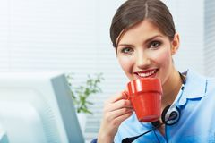 Business woman time out concept, red coffee cup. Break the work Royalty Free Stock Photography