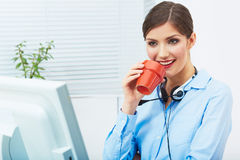 Business woman time out concept, red coffee cup. Break the work. Ing day. female business model at office royalty free stock image