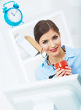 Business woman time out concept, red coffee cup. Break the work. Ing day. female business model at office stock image
