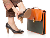 Business woman tired legs Royalty Free Stock Image