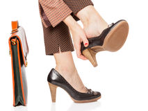 Business woman tired legs Royalty Free Stock Images