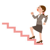 Business woman to climb the stairs. Vector illustration.Original paintings and drawing Stock Images