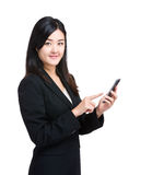 Business woman touch on cellphone Royalty Free Stock Images