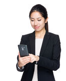 Business woman touch on mobile phone Royalty Free Stock Photos