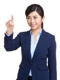 Business woman touch screen royalty free stock image