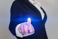 Business woman touch screen template Stock Image