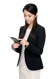 Business woman touch smartphone Stock Photos