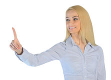 Business woman touch something Royalty Free Stock Image