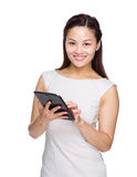 Business woman touch on tablet Stock Photos