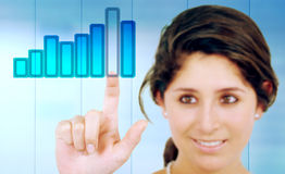 Business woman touching Stock Images
