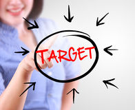 Business woman touching business target Stock Photo