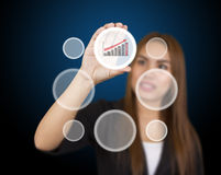 Business woman touching button Royalty Free Stock Photo