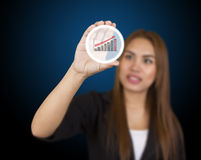 Business woman touching button Royalty Free Stock Images
