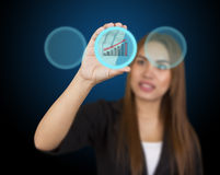 Business woman touching button Royalty Free Stock Photography