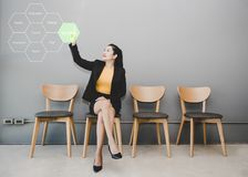 Business woman touching concept Saving money for the future life. Royalty Free Stock Photo