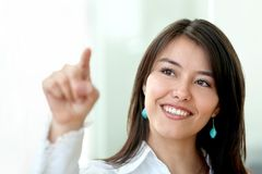 Business woman touching the screen Stock Images