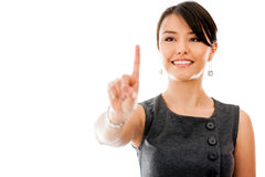 Business woman touching a screen Royalty Free Stock Photos