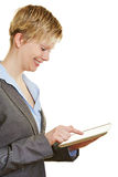 Business woman touching tablet PC Royalty Free Stock Image