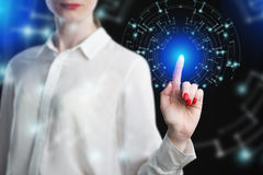 Business woman touching virtual screen Royalty Free Stock Images