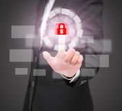 Business woman touching virtual screen of security. Stock Images