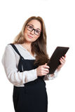 Business woman with a touchscreen PC Stock Photography