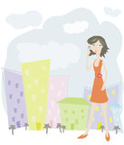 Business woman in town. Illustration with woman who speak by a mobile phone Stock Photos