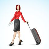 Business Woman with Travel Bag Stock Photography