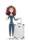 Business woman with travel bag on white background Stock Photography