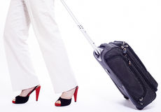 business woman with travel suitcase Royalty Free Stock Photo