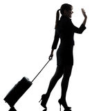 Business woman  traveling saluting   silhouette Royalty Free Stock Photo