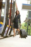 Business woman traveling by train Stock Image