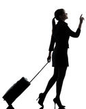 Business woman  traveling walking   silhouette Royalty Free Stock Image