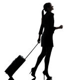 Business woman  traveling walking   silhouette Royalty Free Stock Photo