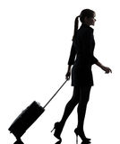 Business woman traveling walking  silhouette Stock Photo