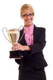 Business woman with trophy Stock Photo