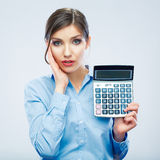 Business woman trouble concept with count machine Stock Images