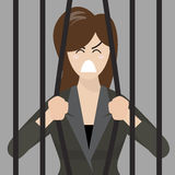 Business woman try to escape from prison Stock Photo